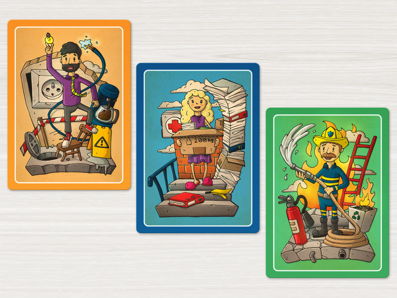 Occupational safety and health course card game card illustration