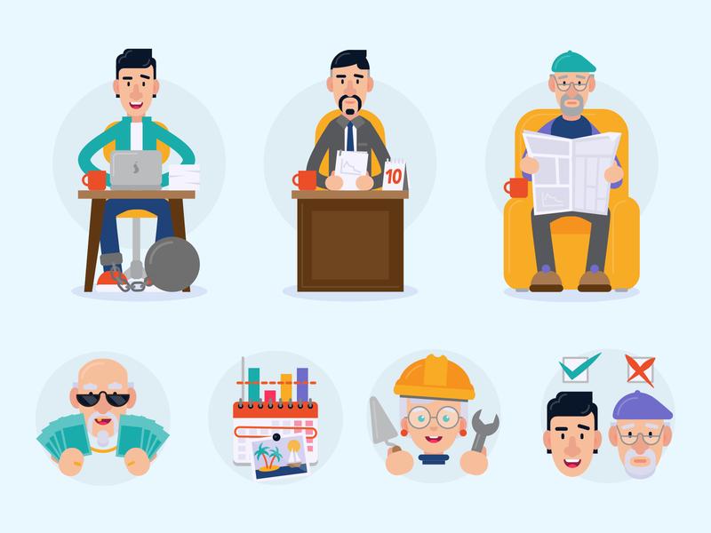 Age Management illustrations flat vector illustration