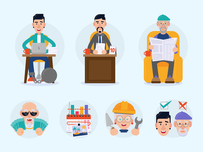 Age Management illustrations flat vector illustration