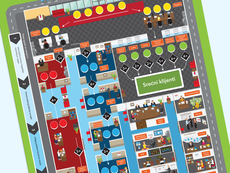 Boardgame for the bank gamification game art illustration