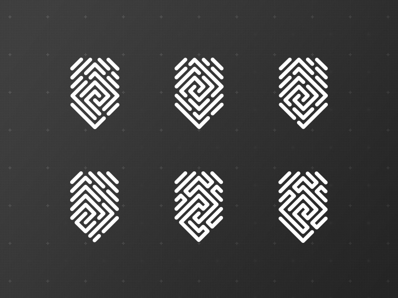 Linestorm trace grid logo line thumbprint