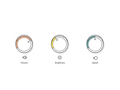 Controls controls color speed volume brightness illustrator shadow turn flat