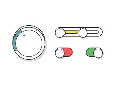 Controls II controls color speed volume brightness illustrator shadow turn flat range on-off ui