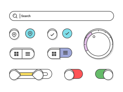 Controls III controls color dropdown checkbox switch search illustrator shadow flat range on-off ui