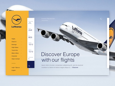 Lufthansa Homepage Concept airplane airline image layout search responsive desktop design homepage lufthansa