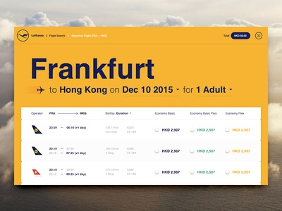 Airline Flight Results prices table draft concept redesign travel airline results flight lufthansa