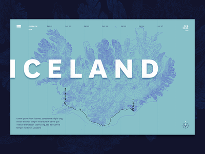 Iceland Journey Map landing page homepage design map box custom maps cartography geography journey map iceland