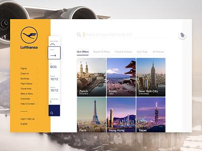Lufthansa Concept Destinations map search locations grid places travel aviation airline concept lufthansa destinations fly