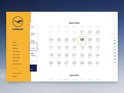 Lufthansa Concept Calendar dates calendar fly destinations lufthansa concept airline aviation travel grid locations search