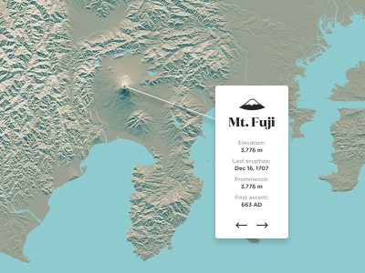 Mount Fuji, Japan volcano terrain sea colors design cartography custom map map japan fuji mount fuji mountain