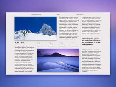Editorial Layout #1 editorial screen travel journal digital design layout typography grid photo japan
