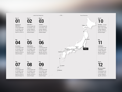 Editorial Layout #5 (Map) japan photo grid typography layout design digital journal travel screen editorial