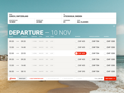 Airline Flight Result Page page airline concept design travel fly flight search