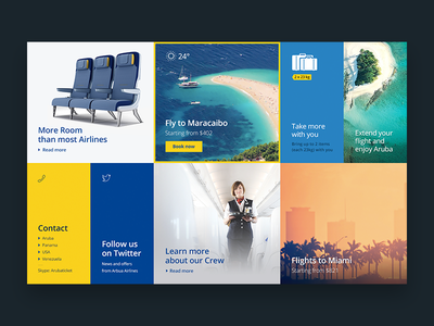 Grid with Promotions and Infos design travel airlines intro grid flight promotion