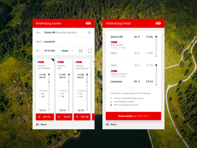 SBB Railway App buy switzerland railway train ui search travel concept design tickets