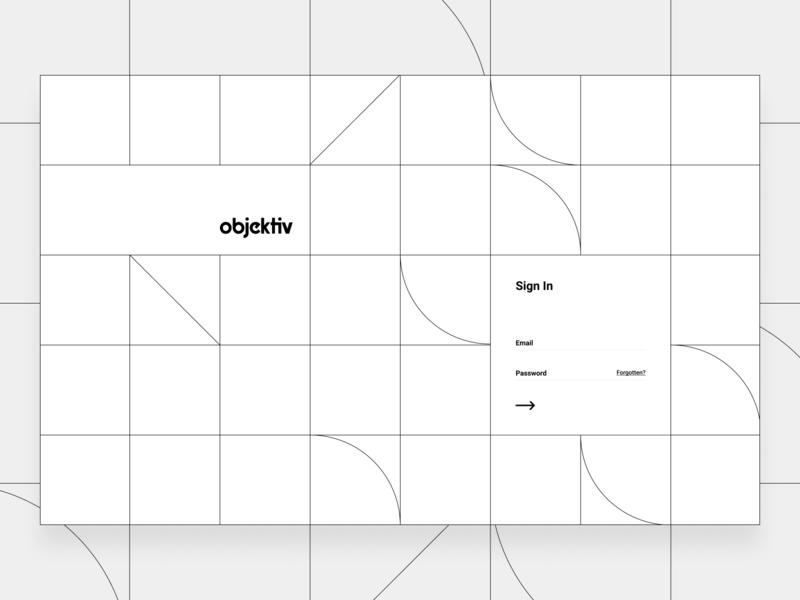 Objectiv Sign in Page login form sign in login app datavisualisation data grid figma concept design