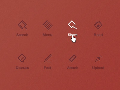 45° Icons icons collection photoshop vector search share read discuss post attach upload menu navigation