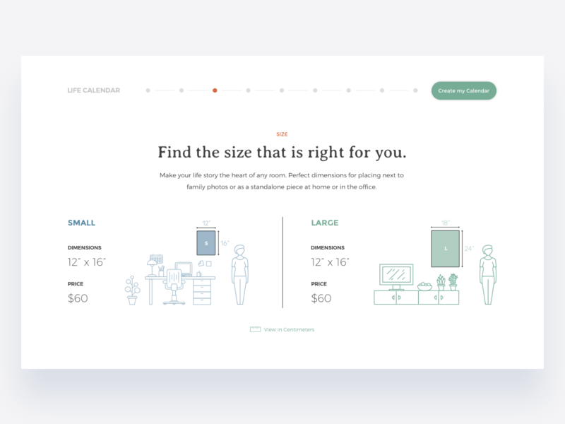 Available Sizes ux ui interaction big small landing page landing desktop web call to action horizontal scroll ui design minimal clean dimensions poster scale size webpage website
