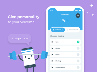 Voicemail Greetings edit radio button status update status not available offline personalised custom toggle switch toggle button flat design ux design user interface mobile ios app ui voicemessage greetings voicemail