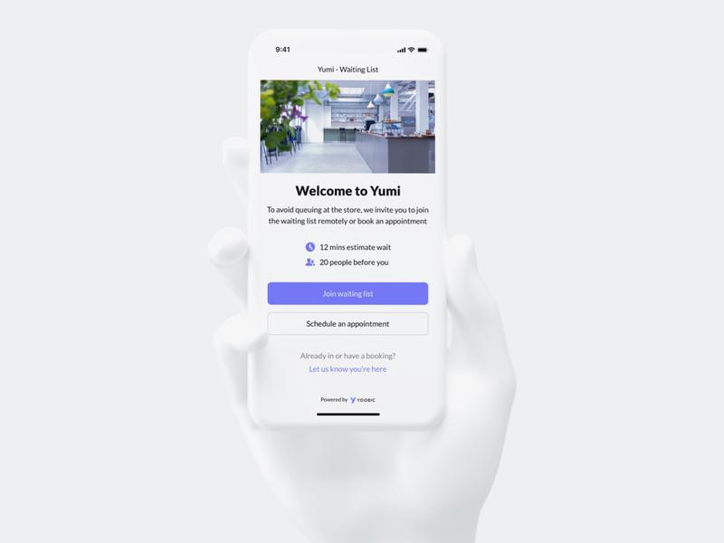 New Virtual Queuing feature covid19 iphonexs london startup mockup design ui qrcode qr iphone yoobic