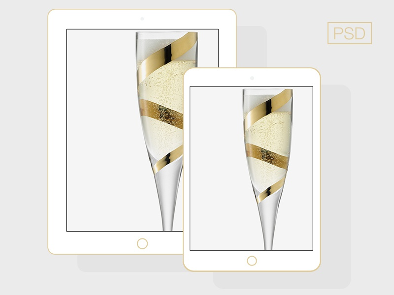 flat iPad 5 + iPad Mini Champagne flat device ipad ipad mini champagne color psd minimal
