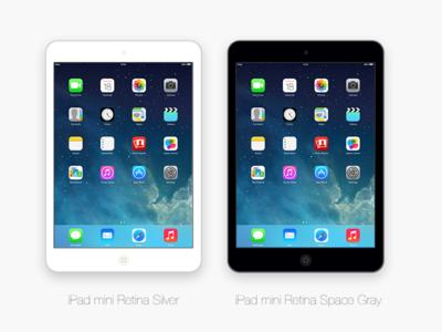Flat iPad Mini Retina PSD