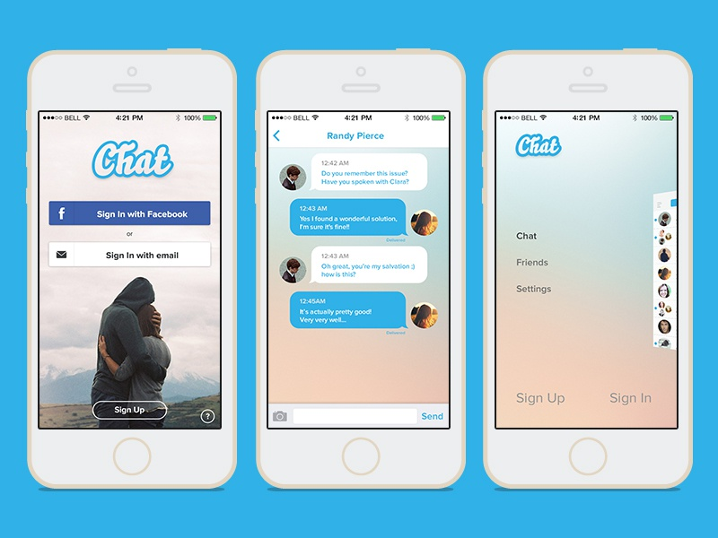 Chat template psd by arcangelo fiore dribbble dribbble for Facebook app template psd