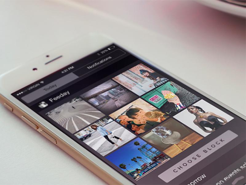 Feeday App website one page website today widget instagram ios8 widget iphone 6 landing page iphone app today feeday