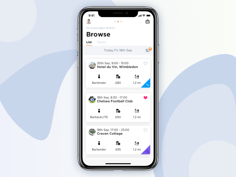 Rota list view ios11 browse app store member hospitality london ios iphone x iphone10 iphonex app rota