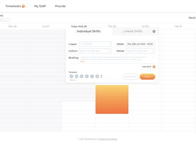 Rota - Drag to post shift gradient drag web hospitality startup london app sketch calendar gif principle rota