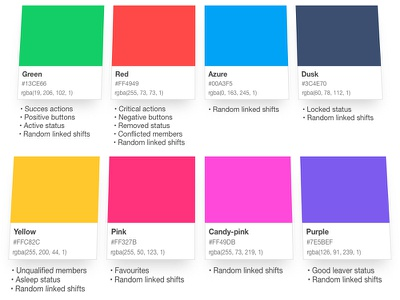 Rota Style Guide gradient color web hospitality startup london app sketch palette style guide rota