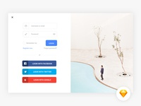 Modal login screen - Sketch freebie