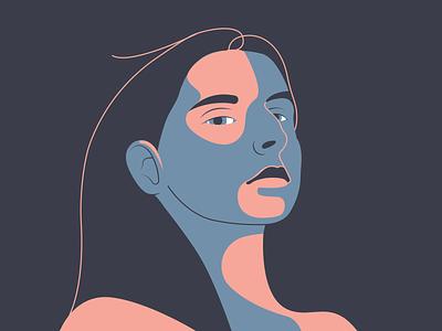 Girl art simple female brave proud portrait girl woman vector illustration