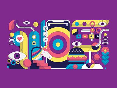 Creativity flat tech colorful unicorn social phone visualization art eye creativity vector illustration