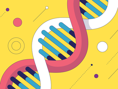 DNA science lab laboratory cell design brand colorful flat dna illustration