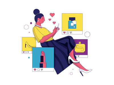 Instagram Mom flat design colorful vector socialmedia girl woman advertising social instagram post illustration
