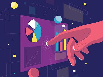 Techy illustration futuristic future vector button hand chart ai technology tech