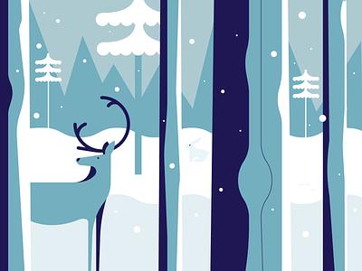 Winter Vibez snowflake landscape trees white vector illustration vector minimalistic snow reindeer winter