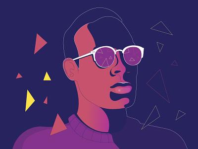 Triangles gradient sunglasses portrait cyber tech triangle man vector illustration
