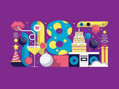 Smartly.io 8th Birthday party flat confetti colorful cake balloon design birthday vector illustration smartlyio