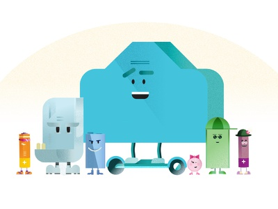 Battery Squad playful squad graphic recycling batteries illustrator vector character