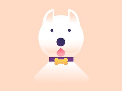 Westie design flat simpe illustration sweet beige bone vector gradient animal westie cute dog