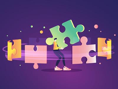 Puzzle modular module pink 2d flat blue purple shoes illustration vector carrying man pieces gradient puzzle