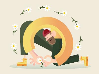 Mister Spring daisies character illustration vector picking man hipster flower spring