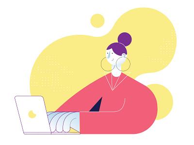 Data Girl character tech yellow 2d vector flat pink earring illustration laptop woman girl
