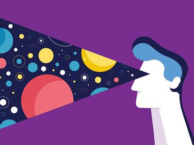 Farseer illustration futuristic future colorful purple tech pattern graphic ellipse space planets man vector