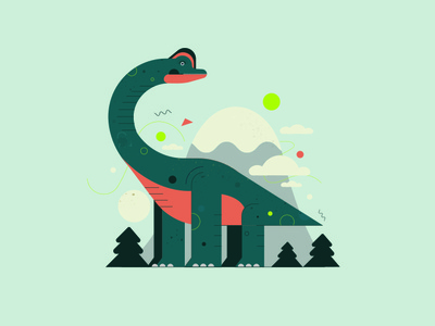 Brachiosaurus decor character poster dino dinosaur playful sauropod brachiosaurus illustration