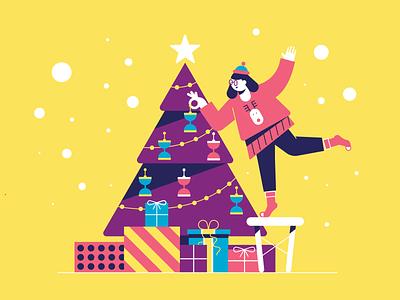 Gift of TIme character colorful vector illustration xmas snow holiday decoration woman girl gift present christmas tree christmas