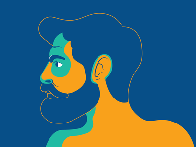 Dude minimal simple lineart beard hipster blue green orange man portrait stroke vector illustration