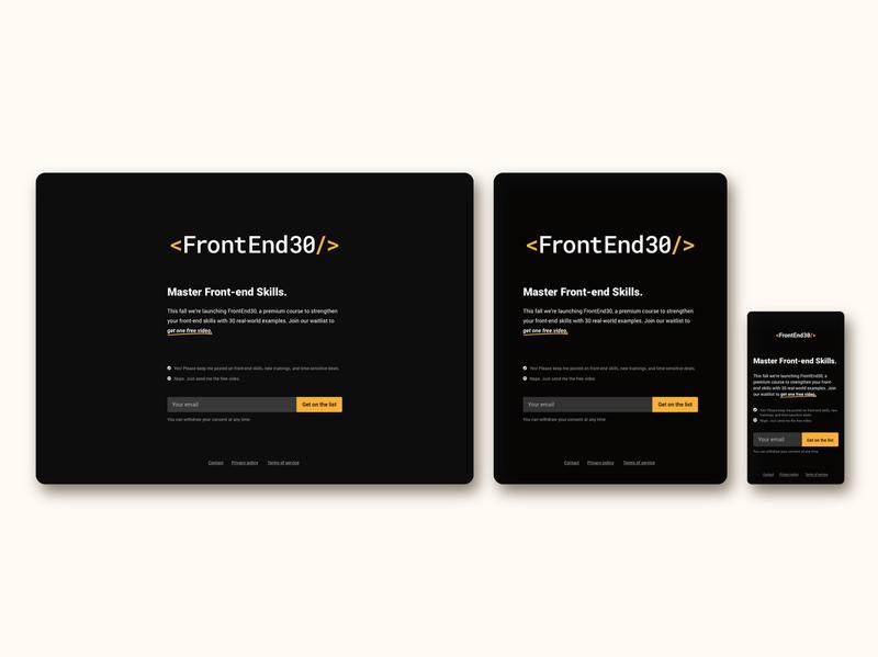 Opt in page / UI design / FrontEnd30 web design ui component ui design ui opt in opt-in opt in page
